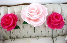 unique wedding ideas Groomie we blew up the reception decorations paper rose bouquets