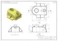스터디캐드캠(STUDY CADㆍCAM) Mechanical Engineering Design, Mechanical Design, Orthographic Drawing, Orthographic Projection, Autocad 3d Modeling, Autocad Isometric Drawing, Cad Computer, Youtube Drawing, 3d Drawings