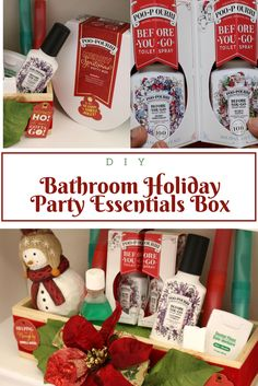Bathroom Holiday Party Essentials Box for your guests. #ad #merryspritzmas @Poo~Pourri