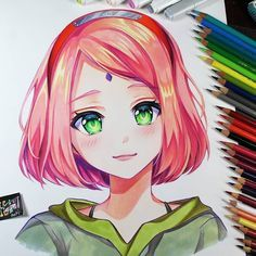 Drawing Sakura Cute Version (speed drawing - check the comment for the link ) Copic Drawings, Anime Drawings Sketches, Anime Sketch, Manga Drawing, Manga Art, Cute Drawings, Copic Kunst, Copic Art, Marker Kunst