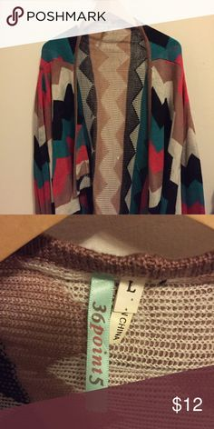 Colorful chevron print cardigan Super cute design! Brand new condition. 36point5 Sweaters Cardigans