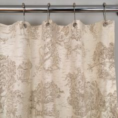 Khaki Toile Fabric Shower Curtain by SouthernTickingCo on Etsy Toile Curtains, Fabric Shower Curtains, Bathroom Shower Curtains, French Country Fabric, French Country Style, French Fabric, Vintage Country, French Country Kitchens, French Country Bedrooms