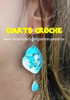 CROCHE, MODA E ACESSÓRIOS by giarts: Brinco de croche azul