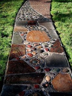 brown pebble mosaic tile art stone plates river rock path diy garden walkway