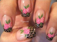 unhas decoradas com rosas e onça - finalizadas 03