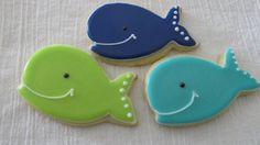 Whale Cookies via TheSweetShopCookieCo on Etsy.