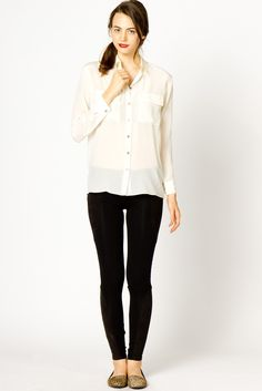The Essential Silk Button Up in Ivory