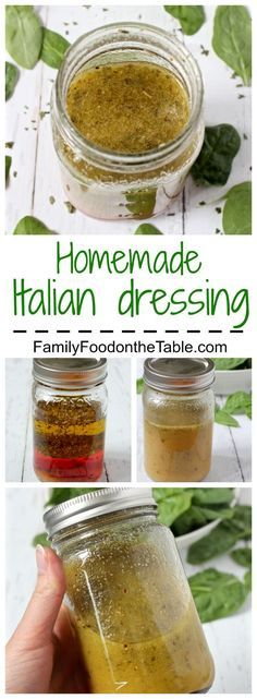 Homemade Italian dressing I add tsp celery seed and tsp red pepper to zest it up a bit! Homemade Italian dressing is as easy and measuring and shaking - so much healthier and tastier than store-bought! Homemade Italian Dressing, Vegan Italian Dressing Recipe, Italian Vinaigrette Dressing Recipe, Homemade Healthy Salad Dressing, Vinegrette Salad Dressing, Italian Dressing Marinade, Italian Dressing Pasta Salad, Honey Lime Vinaigrette, Italian Salad Recipes