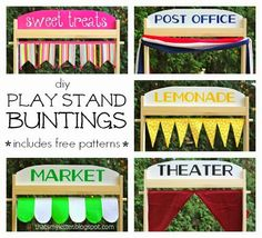 Play Stand offer hours of endless summertime fun. Add a colorful bunting to the set up with this easy and free pattern.