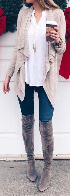 #winter #fashion /  Beige Cardigan / White Shirt / Skinny Jeans / Grey Velvet OTK Boots