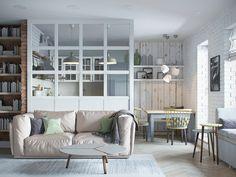 Квартира в Минске — образец традиционного скандинавского дизайна: архитектор оформила интерьер в светлых тонах, добавила простую деревянную мебель и обустроила лаундж-зону на балконе с видом на реку