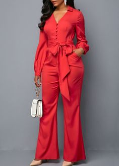 Long Sleeve V Neck Button Front Belted Jumpsuit Classy Outfits For Women, Trendy Outfits, Hijab Fashion, Fashion Outfits, Latest African Fashion Dresses, Jumpsuits For Women, Dress To Impress, Rompers, Fashion Design