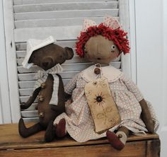 Prim Nest: Primitive Annie Doll with Bear