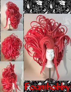 Costume Wigs, Costumes, Foam Wigs, Wig Hat, Hair Creations, Wig Making, Headpieces, Helmets, Headdress