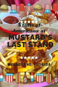 Mustard's Last Stand is one of my favorite local eats in Melbourne, Florida,  where the stars of the menu are gourmet dogs and inventive fries.  YUM!