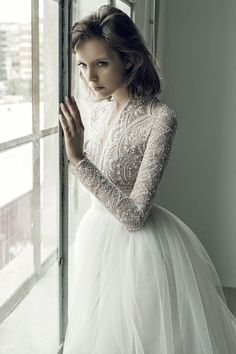 Ersa Atelier Fall 2017 bridal collection features French lace, tulle, structured crepe, silky smooth satins, ruffles, gorgeous embroidery & embellishments.