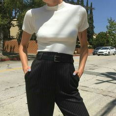 6f1204a83b10a white mock neck crop top and pinstripe black pants.