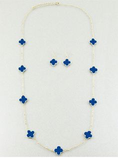 Designer Inspired Clover Long Necklace - Navy by InlandFashion on Etsy