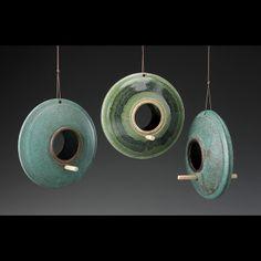 bird feeders by jim schneider Ceramic Birds, Ceramic Clay, Ceramic Pottery, Clay Birds, Ceramic Bird Houses, Bird House Feeder, Bird Feeders, Ceramics Projects, Clay Projects