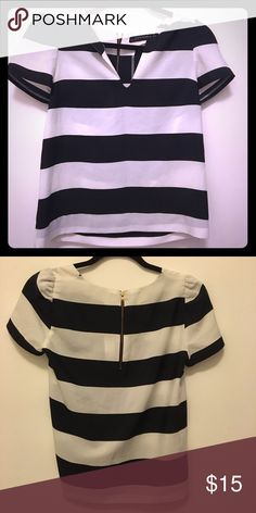 ZARA Black & White Striped Blouse Great for happy hour or dinner. Good condition and can be paired with redirect leather pants. Zara Tops Tees - Short Sleeve