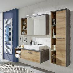 Waschtischunterschrank Bay - Eiche Riviera Honig Dekor / Beton - Ohne Waschbecken