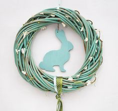 Items similar to Mint spring wreath with Easter rabbit bunny Happy spring sign decoration door wreaths natural home decor green on Etsy Happy Spring, Hello Spring, Spring Home Decor, Spring Sign, Natural Home Decor, How To Make Wreaths, Door Wreaths, Natural Wood, Mint
