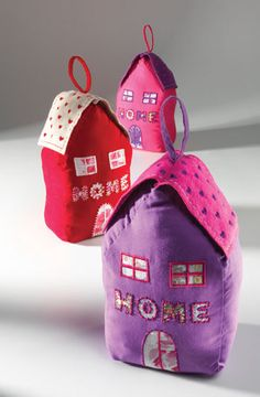 Cotton & felt house doorstop with embroidered hearts