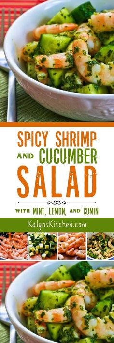 Spicy Shrimp and Cucumber Salad with Mint, Lemon, and Cumin is a delicious hot-weather salad idea, and this tasty salad is low-carb, Keto, low-glycemic, gluten-free, dairy-free, and South Beach Diet friendly, and with the right hot sauce it can be Paleo or Whole 30. [found on KalynsKitchen.com]