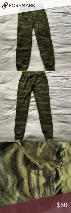 """Alternative Camouflage Sweatpants Alternative apparel Camo sweatpants. Worn once. Elasticized drawstring waist, all over camp print. Three pocket silhouette, banded cuffs. 9"""" rise, 27.5"""" inseam, 8"""" leg opening, size Small. Polyester/cotton/rayon Alternative Apparel Pants"""