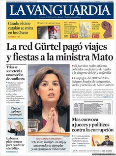 Los Titulares y Portadas de Noticias Destacadas Españolas del 2 de Febrero de 2013 del Diario La Vanguardia ¿Que le parecio esta Portada de este Diario Español?