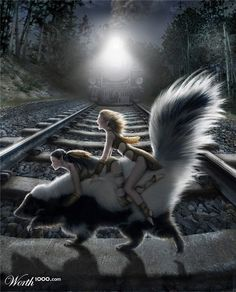 XOO Photo :: Pixie Girls Riding Skunk Race the Train - Tiny magical fairies riding a skunk race to cross tracks before a train.