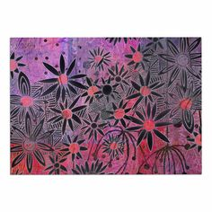 KESS InHouse Marianna Tankelevich 'Black Flowers' Pink Purple Dog Place Mat, 13' x 18' ** Special dog product just for you. See it now! : Dog food container