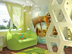beautiful, interiors, design, children room, green, architecture. That couch is awesome!
