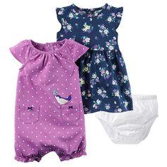 Baby Girl Carter's Floral Dress & Polka-Dot Sunsuit Set, Size: 9 months, Purple