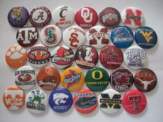 """30 ct 1"""" College Team  Football Basketball Inspired Buttons Pinbacks Flatback  #Character"""
