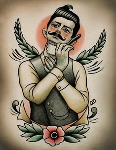 Shaving Victorian Man (Frontal View) Tattoo Print by Quyen Dinh