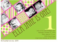 Hot Pink and Green Birthday Girl Invitation