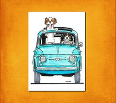 Fiat 500 with Cavalier King Charles Spaniel's Art by FreemanUK