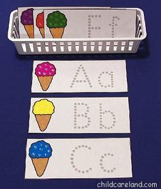 This week's free printable is Ice Cream Cone Letter Tracing which is a great activity for letter recognition and review as well as fine motor development. Available until Sunday June 7th ... after that they will be available in the member's section of the site.