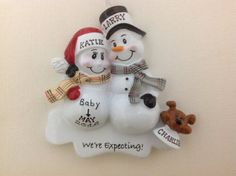 Personalized Christmas Ornament Pregnant Snowman Couple with Pet puppy dog ,Expecting Parents Mom to be, Dad to be by KUTEKUSTOMKREATIONS on Etsy