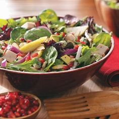 """Pear Harvest Salad For 2 Recipe -""""We came up with this delicious salad trying to use up leftover turkey after Thanksgiving. We think you'll love it, too!"""" —Nancy Prewitt, Beaverton, Oregon"""