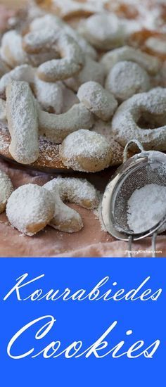Kourabiedes Cookies are Traditional Greek sugar cookie, dusted with powdered sugar. via @preppykitchen | Christmas Cookies, holiday desserts, holiday cookies #christmas #cookies #holidaydesserts easy holiday baking