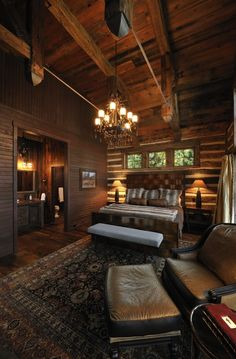 Bedroom Rustic Master Bedroom Design, Pictures, Remodel, Decor and Ideas Log Home Bedroom, Lodge Bedroom, Rustic Master Bedroom, Master Bedroom Design, Bedroom Suites, Bedroom Ideas, Dream Bedroom, Master Suite, Warm Bedroom