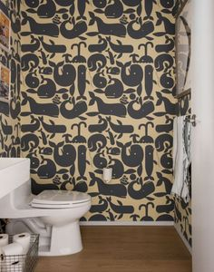 Whale Wallpaper in Bath - Brooklyn Family Loft In A Former Factory