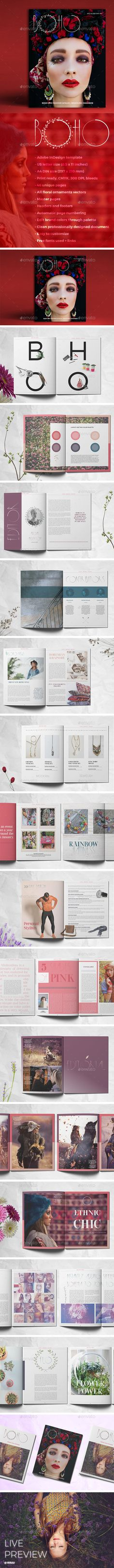 Boho Magazine by LeoneDanieli BOHO is beautiful vintage and cool fashion brochure / magazine layout for Adobe InDesign. Print ready or export as a PDF BOHO is