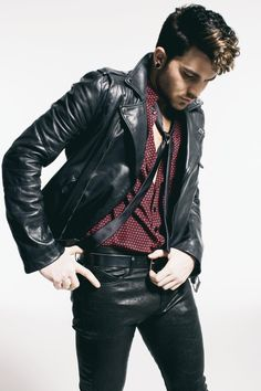 Adam Lambert rockin' the leather...