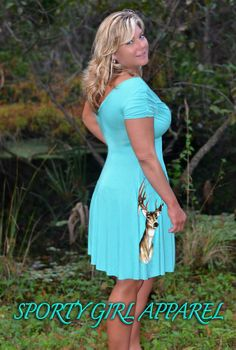 Teal women's fashionable classy hunting deer dress