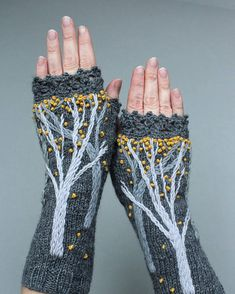 Gray Fingerless Gloves With Trees Embroidery Gray And Yellow