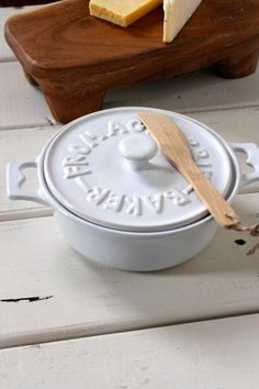 Stoneware Brie Baker w/ Wood Spreader, 2 Colors $18