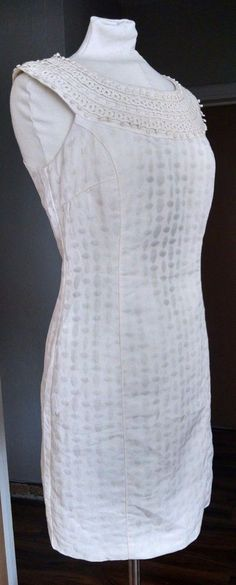 Laundry by Design Womens Dress 8 Ivory White Sleeveless Fitted Crocheted Lace #Laundry #WigglePencil #Cocktail